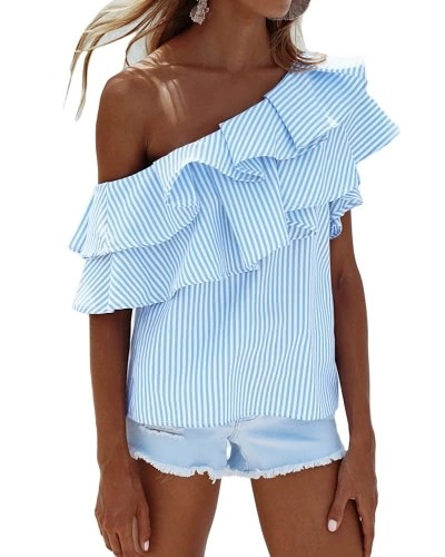 Women One Shoulder Ruffles Blouse Shirt Top Casual Stripe Shirt Short Sleeves Top Pink/Blue