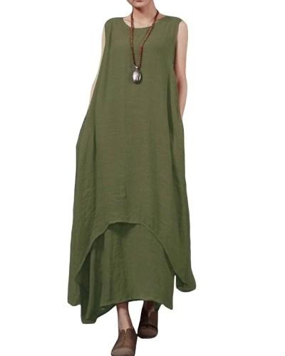 Casual Retro Women Loose Dress Solid Sleeveless O-Neck Pockets Boho Long Maxi Dress Vestidos Plus Size
