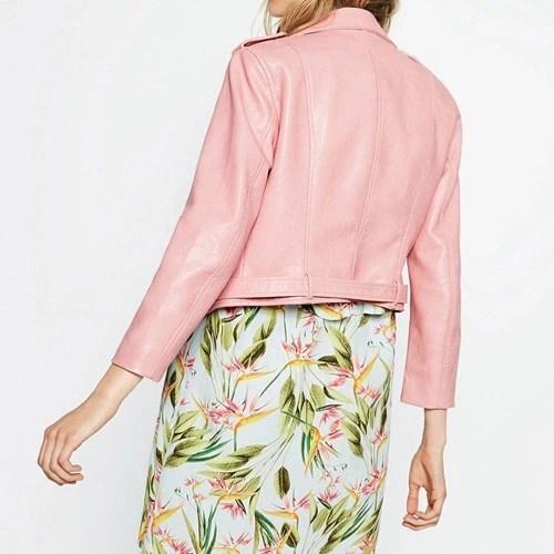 Fashion Women PU Faux Leather Jacket Coat Zipper Belt Long Sleeves Basic Moto Jacket Outerwear