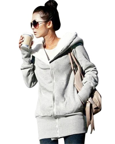 New Autumn Winter Women Hoodies Coat Warm Fleece Coat Zip Up Outerwear Hooded Sweatshirts Casual Long Jacket Plus Size