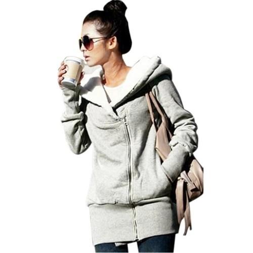 New Autumn Winter Women Hoodies Coat Warm Coat Zipper Outerwear Hooded Sweatshirts Casual Long Jacket Plus Size