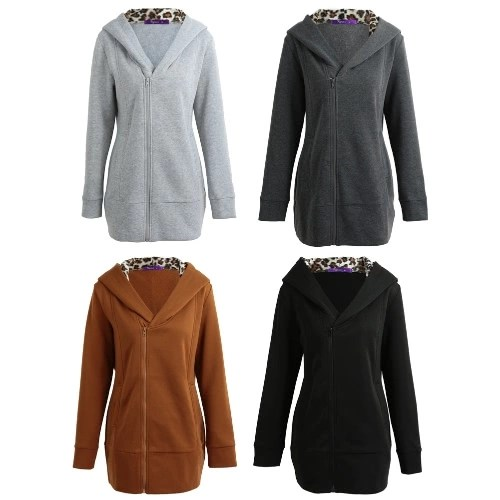 Women Hoodie Hooded Sweatershirt Fleece Leopard Long Sleeves Pockets Zippered Long Hoody Outwear