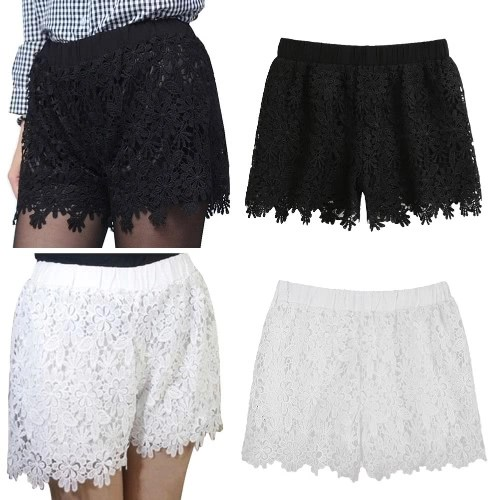 New Fashion Women Lace Shorts Floral Crochet Lace Elastic High Waist Casual Solid Hot Pants White/Black