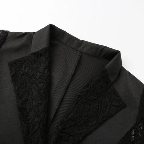 Autumn Women Blazer Jacket Lace Splicing Long Sleeves Slim Suit One Button Casual Coat Work Wear Black/White