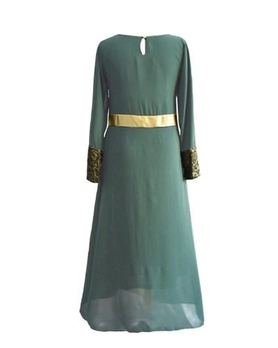 Muslim Women Long Sleeve Dress Maxi Abaya Islamic Casual Robe Kaftan Turkish Muslim Dress Grey/Green/Black