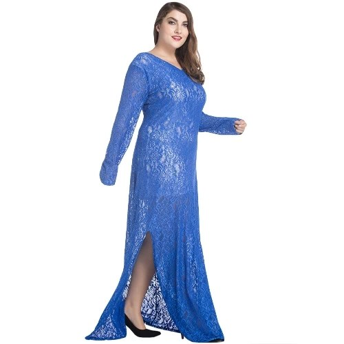 Women Plus Size Lace Maxi Dress V-Neck Full Sleeve Lined Evening Party Solid Long Dress