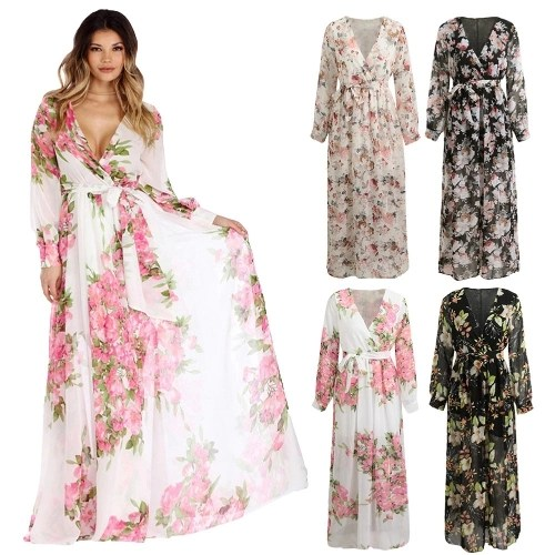 Sexy Women Chiffon Maxi Dress Floral Print Deep V Neck Long Sleeve Slim Belted Elegant Boho Long Dress