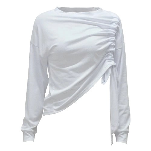 New Sexy Women Drawstring Crop Top Long Sleeve Basic T-Shirt Casual Solid Slim Blouse White
