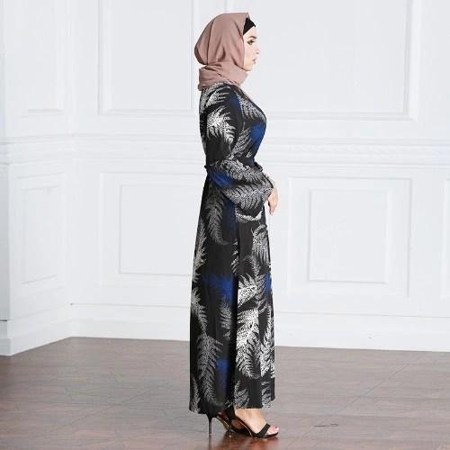 New Fashion Muslim Robe Maxi Dress Print Long Sleeve Tie Waist Turkish Islamic Abaya Kaftans Long Dress Black