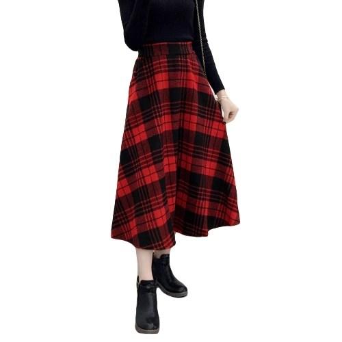 Winter Women Plaid Skirt Woolen High Elastic Waist Elegant A-Line Vintage Warm Midi Skirts