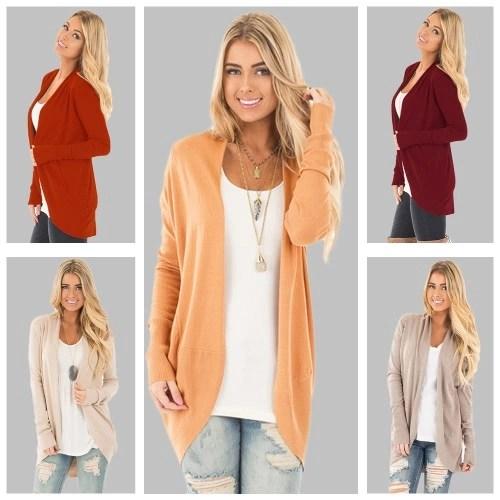 New Casual Winter Women Long Sleeve Knitted Cardigan Open Front Asymmetric Hem Knitting Longline Outerwear Coat