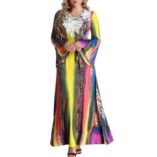 Women Plus Size Maxi Long Dress Contrast Color Flare Long Sleeves Belt Lace Colorful Elegant A-Line Dresses
