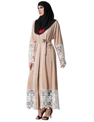 Women Muslim Floral Lace Robes Long Sleeve Abaya Kaftan Islamic Arab Long Cardigan Belted Trench Coat Khaki