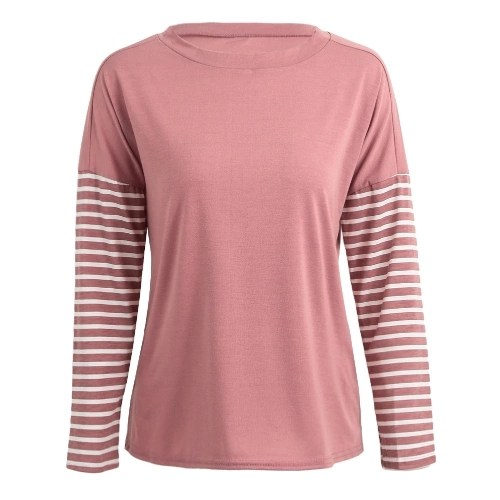 Fashion Women Striped Blouse Long Sleeve O-Neck Casual Loose Autumn T-Shirt Tops Pink