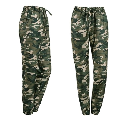 Fashion Women Long Pants Camouflage Print Elastic Waist Casual Camo Trousers Green