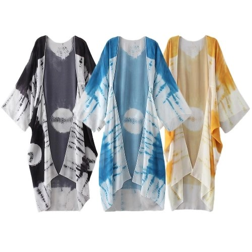New Women Chiffon Kimono Cardigan Beach Cover Up Contrast Print Long Loose Casual Blouse Top White/Blue/Yellow