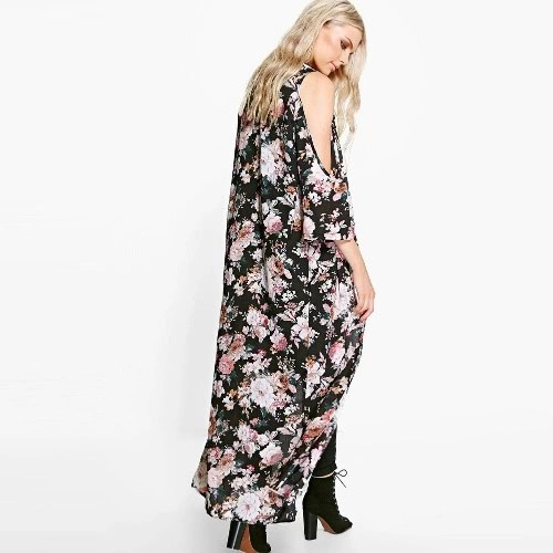 New Women Chiffon Loose Cardigan Open Front Floral Print 3/4 Sleeves Thin Vintage Casual Outerwear Black