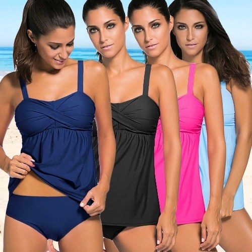 Fashion Women Push Up Tankini Set Padding Wireless Low Waist Bikini Set Beach Bathing Swimwear