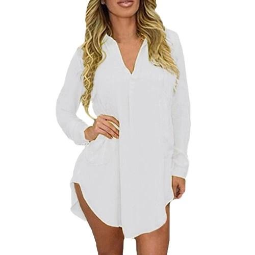 Fashion Women Spring Shirt Long Sleeve Turn-down Collar Asymmetric Solid Casual Loose Top Blouse
