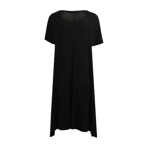 Fashion Women Solid A-Line Dress Round Neck Short Sleeves