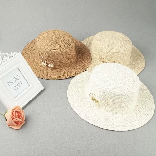 Fashion Women Sun Hat Straw Hat Solid Wide Brim Bead Summer Sunbonnet Beach Panama Hat