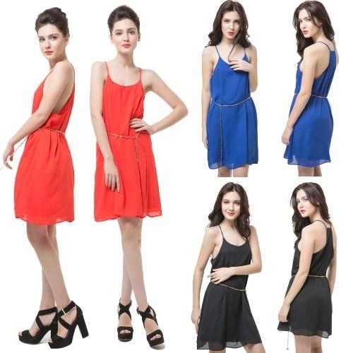 New Sexy Women Sleeveless Dress Scoop Neck Y Back Spaghetti Strap Waist Chain Party Club Mini Dress