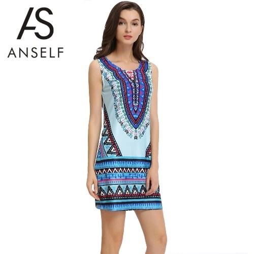 Summer Bohemian Geometric Print Round Neck Sleeveless Womens Mini Dress