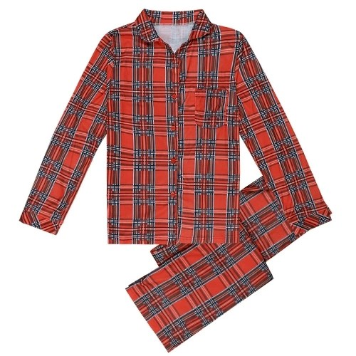 Family Girls Boys Kids Pajama Set Plaid Long Sleeves Sleepwear Suits House Wear Child Top Long Pants