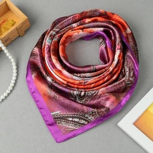 Women Square Scarf Sheen Satin Floral Print Vintage Scarf Scarves Thin Pashmina Oversize Kerchief