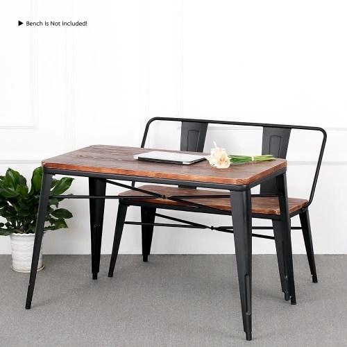 iKayaa Antique Natural Metal Frame Pinewood Kitchen Dining Table