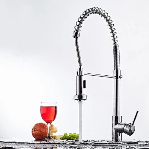 Homgeek Modern Contemporary Elegant Single Handle Kitchen Faucet Brass Polished Deck Mounted Basin Mixer Tap with Pull Out Flexible Hose and Spring Sprayer Swivel Spout Home Hotel