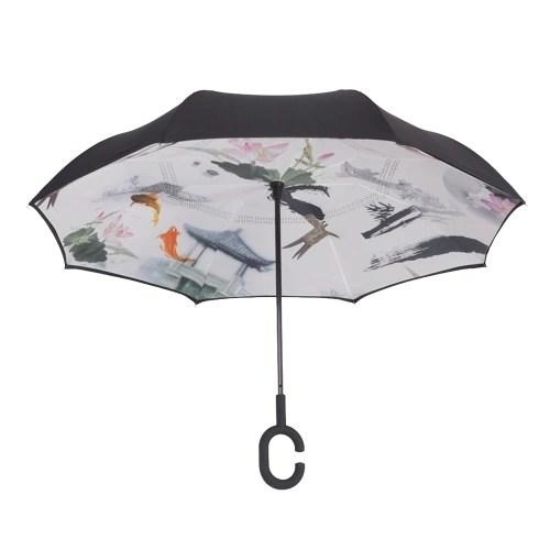 Hands-free Dual Layers Reverse Weatherproof Car Advertising Umbrella Waterproof Inverted   Umbrellas