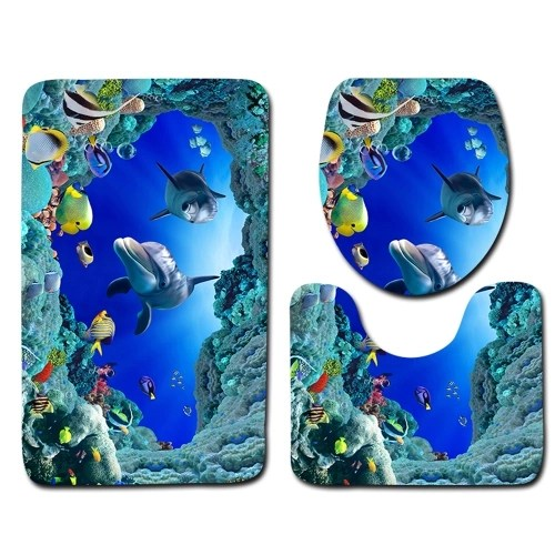 3pcs/set Blue Ocean Dolphin Printed Pattern Flannel Bathroom Set