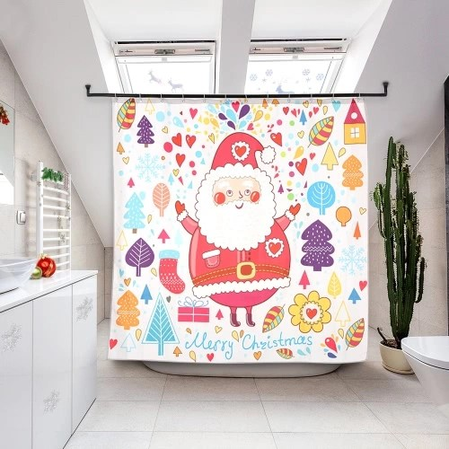 72 * 72 Christmas Santa Bathroom Curtain Polyester Waterproof Mildewproof Shower Curtain with 12pcs Ring Hooks Christmas Decorations