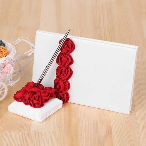 4pcs/set Wedding Supplies Red Rose Satin Flower Girl Basket + 7 * 7 inches Ring Bearer Pillow + Guest Book + Pen Holder