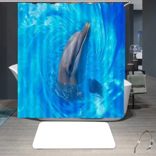 Simulation 3D Colourful Animals Waterproof Shower Curtain Drapes of Bathroom Toilet with Hooks