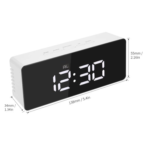 Digital LED Mirror Clock USB & Battery Operated Alarm Clock