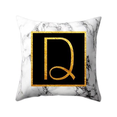 Modern Pillowcases 45*45 Gold Alphabet Word Letter White Marble Pattern Pillow Case