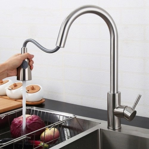Kitchen Faucet Silver Single Handle Pull Out Kitchen Tap