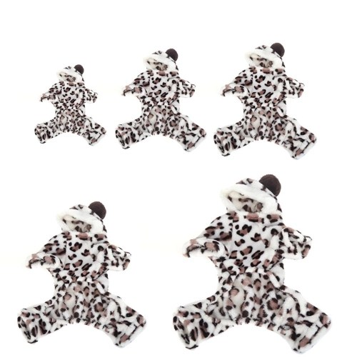 Soft Warm Dog Pet Clothes Apparel Hoodie Hooded Leopard Print Coat for Winter