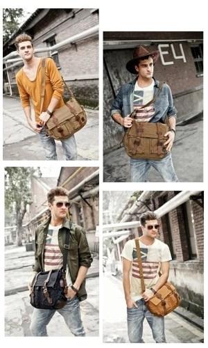 Vintage Casual Men Women Canvas Bag Crossbody Shoulder Messenger Bag Satchel School Bag Unisex Black