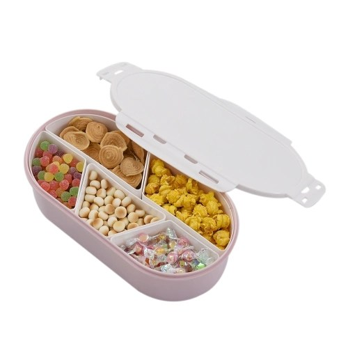 Fruits Nuts Plate with Lid Detachable Multi Sectional Sub Grid Plastic Tray