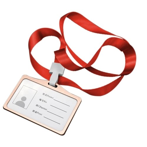 Horizontal Transverse Aluminum Alloy Work Card Badge Holder with Lanyard