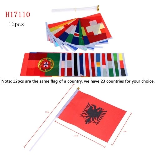 Anself 12pcs 2016 European Cup Olympic Games World Handheld Flag with Flagpole Flag for Euro 2016 International Day Sports Events Hand Flag Size 14 * 21cm