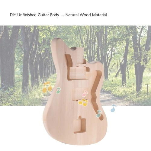 Muslady MZB-T DIY Electric Guitar Unfinished Body Guitar Barrel Blank Basswood Guitar Body Replacement Parts for Mustang Guiatrs