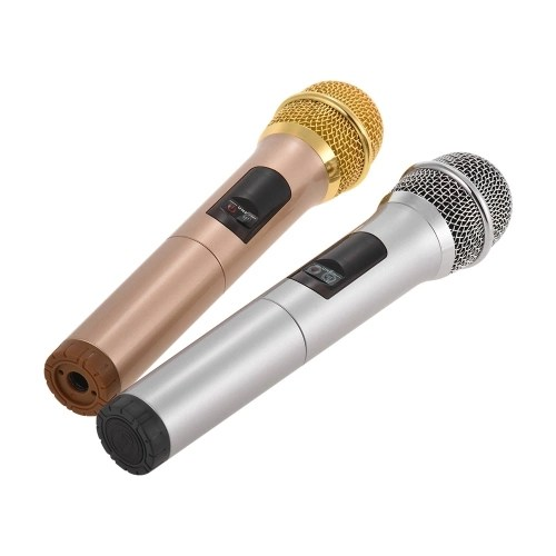 Wireless Microphone System UHF Band with Mini Portable Reciver Box Professional Cordless Mics 10 Channels Optional for Conference Karaoke Stage Performance Host