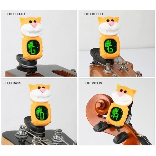 Cute Cartoon Cat Clip-On Tuner LCD Display for Guitar Chromatic Bass Ukulele Violin