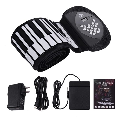 88 Keys MIDI Roll Up Piano Electronic Silicon Keyboard Built-in Stereo Speaker 1200mA Li-ion Battery Support BT Connection Record Sustain functions