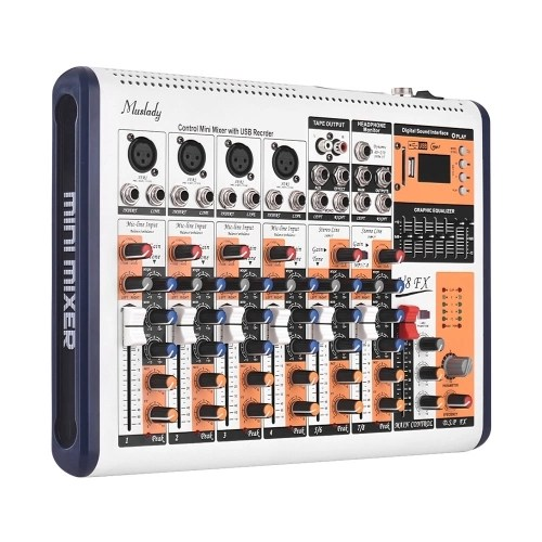 Muslady V8-FX 8-Channel Portable Mixing Console Mixer Built-in 16 DSP Effects +48V Phantom Power Supports BT Connection with Power Adapter for Studio Recording Network Live Broadcast DJ Karaoke