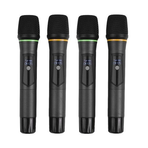 Muslady D4 Professional 4-Channel UHF Wireless Microphone System Includes 4 Handheld Mics + 1 Rack-Mount Receiver for Business Meeting Public Speech Classroom KaraokeTeaching